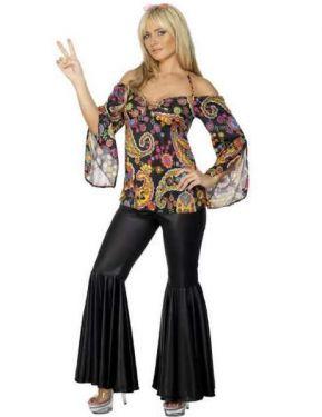60s 70s Fancy Dress Costume - Hippy Lady - S, M, L, XL & XXL